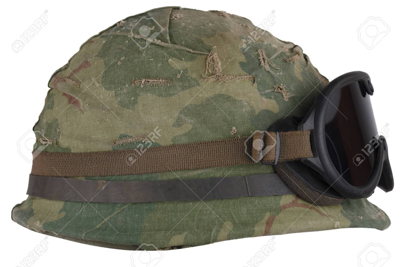 Us Army Helmet Vietnam War Period With Camouflage Cover Goggles Stock Photo Picture And Royalty Free Image Image 138142966