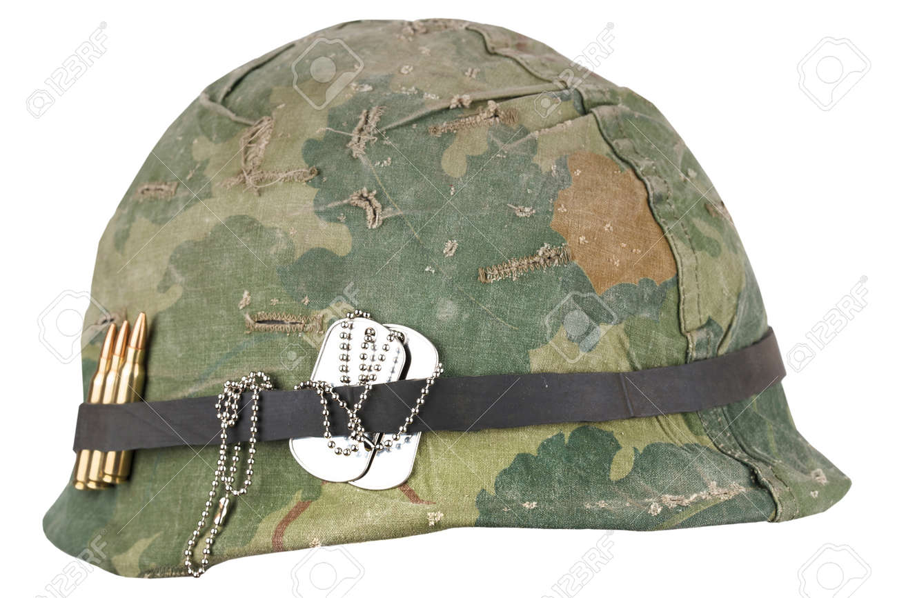 Us Army Helmet Vietnam War Period With Camouflage Cover Goggles Stock Photo Picture And Royalty Free Image Image 138142971