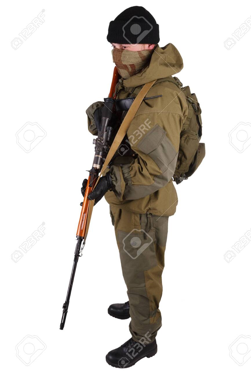 insurgent sniper in russian type of uniform with SVD sniper rifle isolated on white background - 140938279