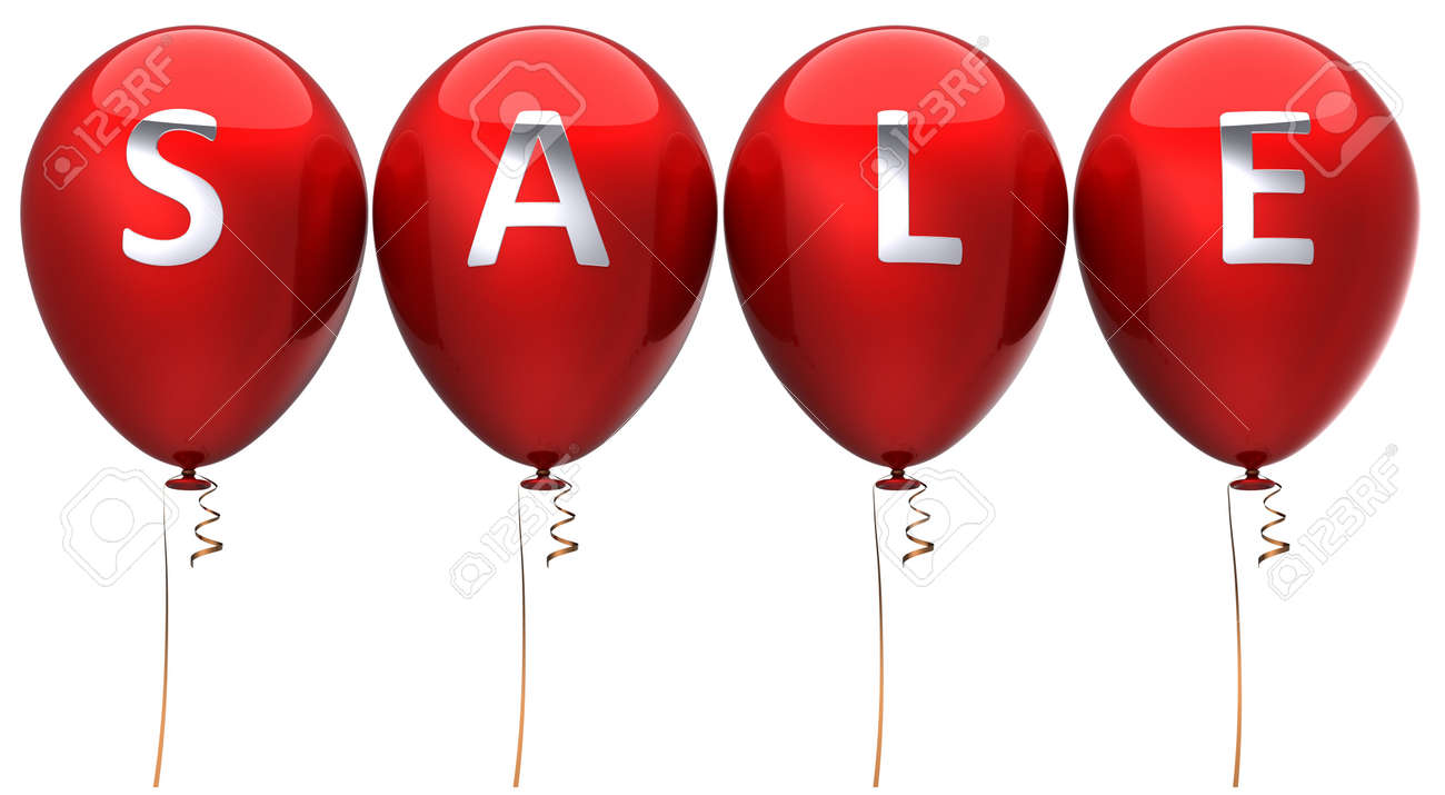 Red sale balloons. 3D render Stock Photo - 7653710