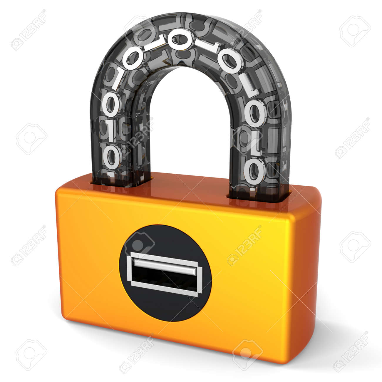 Data security. Usb digital lock. Abstract orange digital padlock with black parts and binary code in transparent arch. Computer security concept. This is a detailed 3D render Stock Photo - 8382314