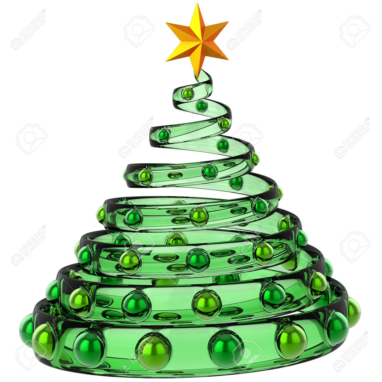 modern christmas tree made from green glass with metallic baubles and shiny yellow star stylized - Modern Christmas Tree