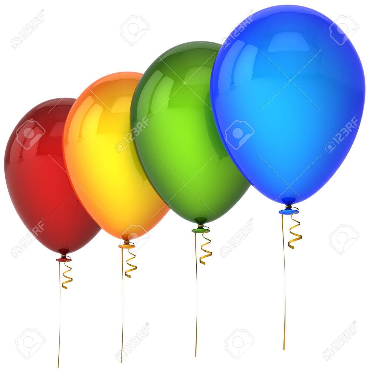 Multicolor helium balloons in a row. This is a detailed 3D render Stock Photo - 8375109