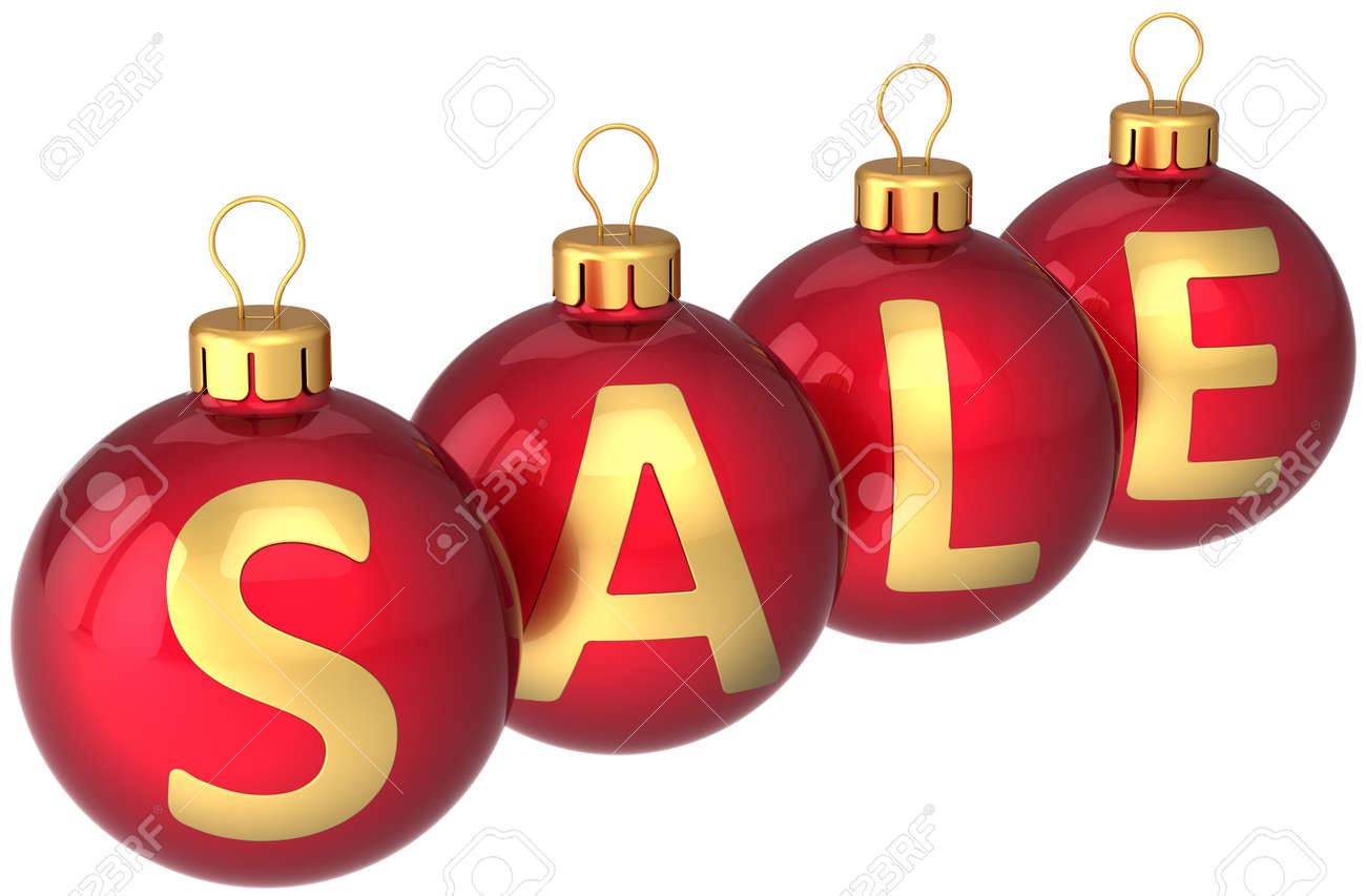 Red Christmas Balls With Golden Word Sale Written On Them Modern Xmas Retail Decoration Bauble