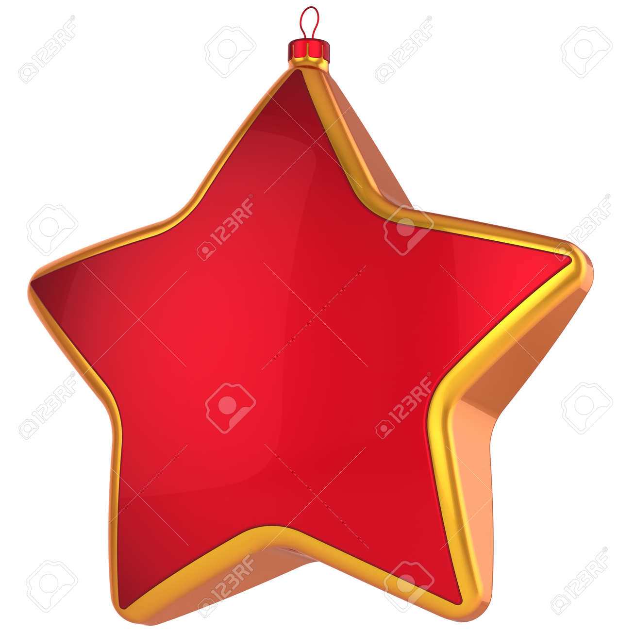 red christmas star shape bauble with golden border modern shiny xmas new year decoration