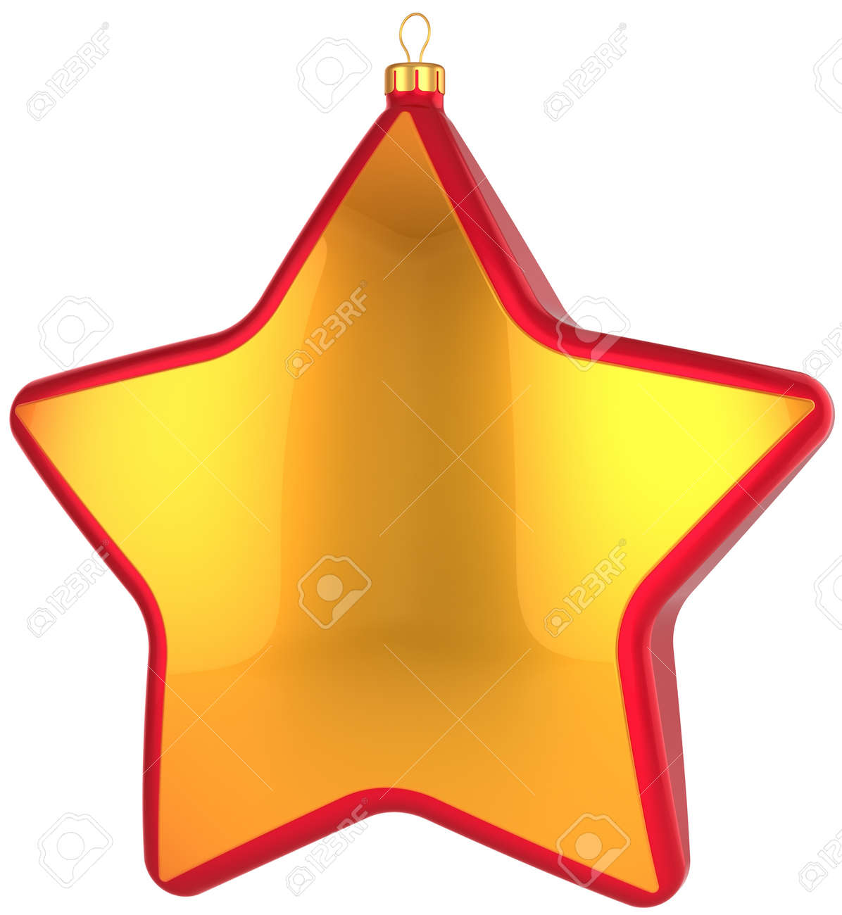 christmas star shape bauble total golden with red border modern shiny xmas new year decoration