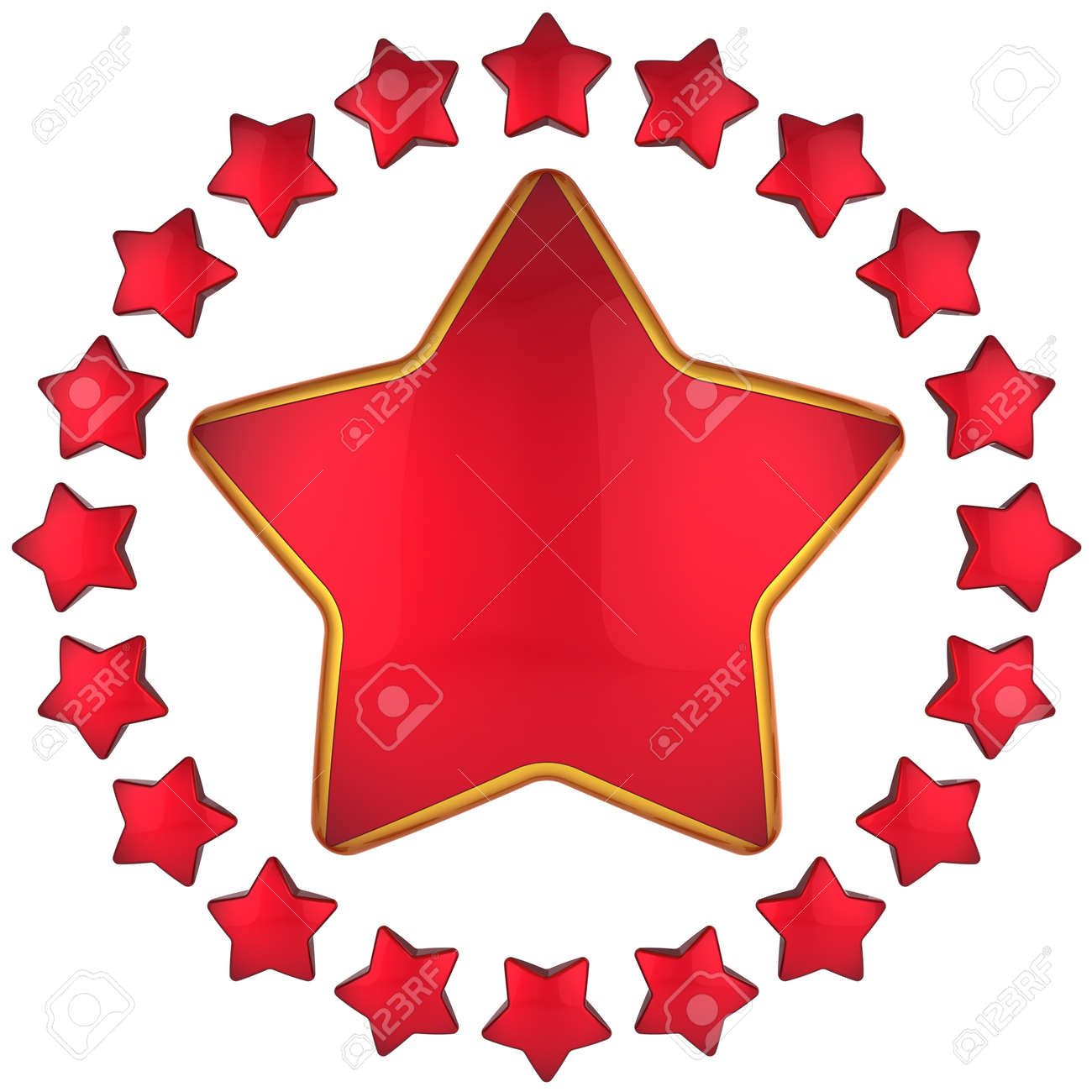 Red star shape bauble with many little stars arranged as circle border around. 3D render Stock Photo - 8375075