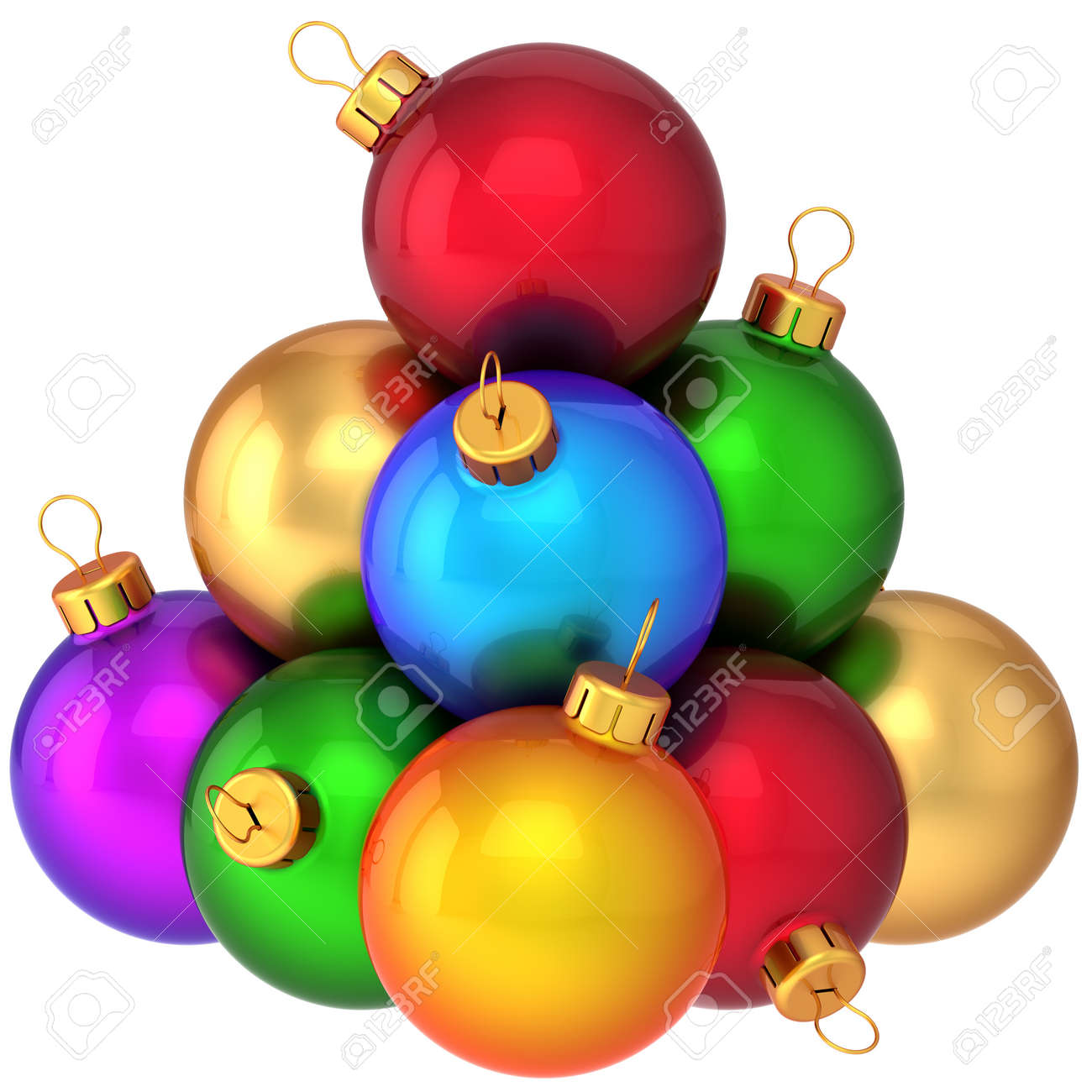 Pyramid christmas ornament - Stock Photo Super Christmas Balls Multicolored Arranged As A Pyramid Beautiful Modern Shiny New Year Decoration Baubles 3d Render