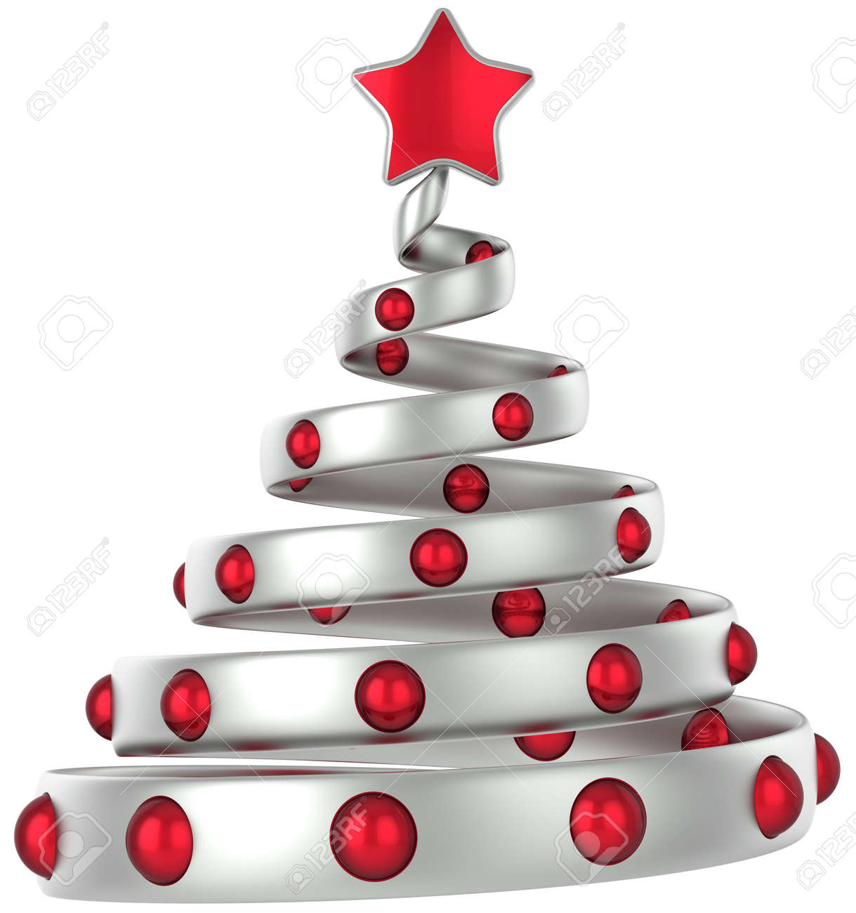 silver christmas tree decorated with red balls and shiny star 3d rendering stock photo - Silver Christmas Tree
