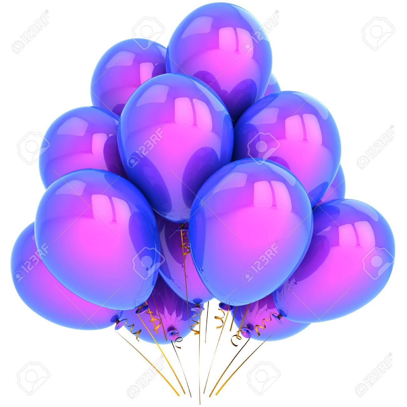 Helium Balloons Colored Blue And Purple Elegance Birthday Party