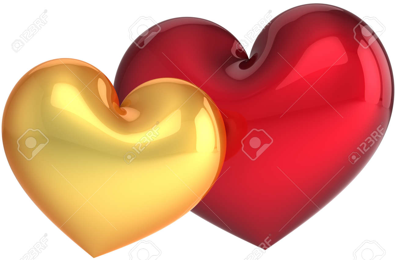 Two Heart Shapes Golden And Red. Love Symbol Classic. Sweet Couple ...