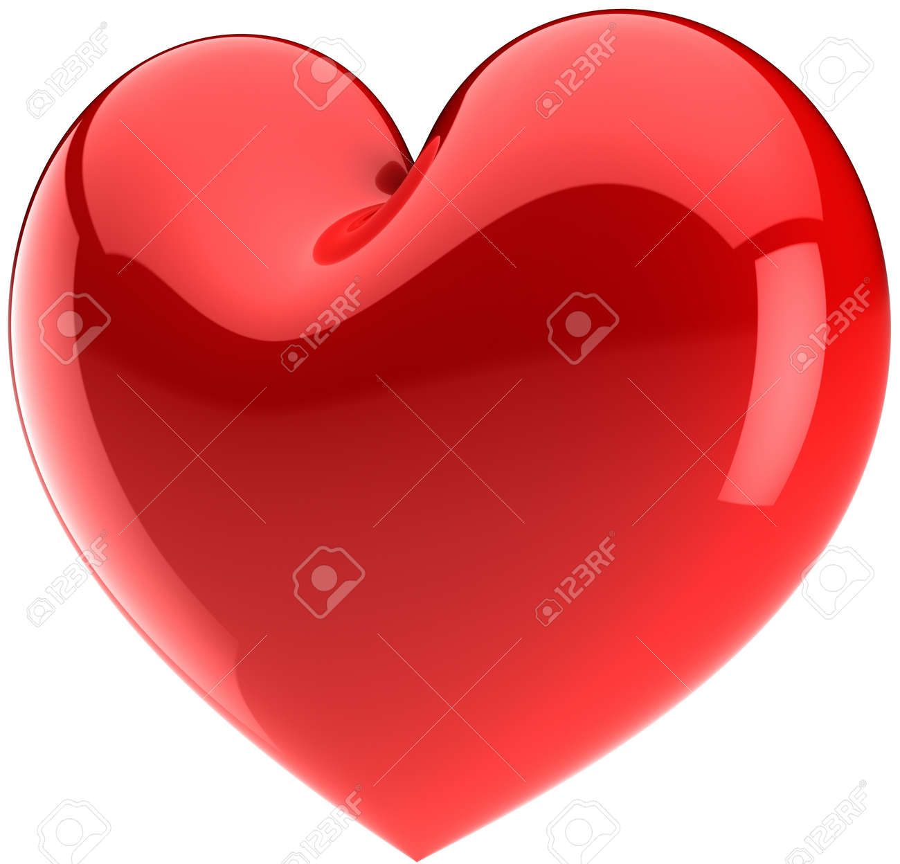 Red Heart Shape Love Symbol Classic Valentines Day Icon Concept
