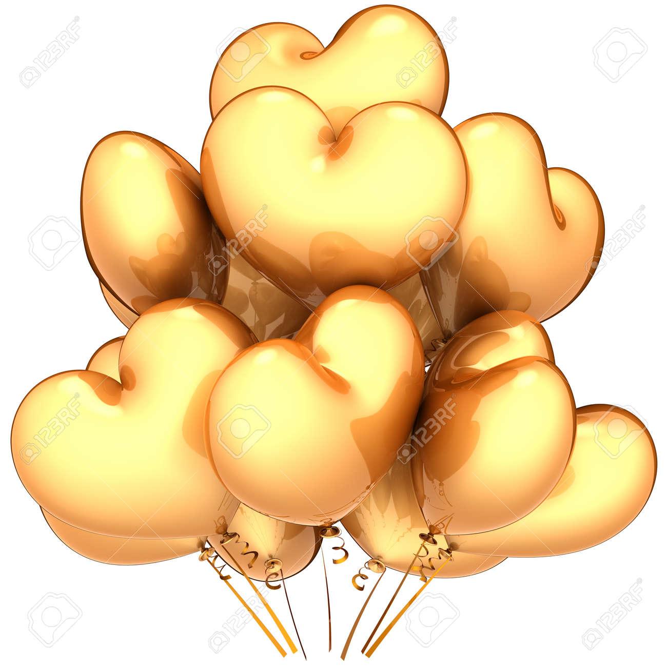 Globos Como Formas De Corazon Total De Oro Partido De Hermosa - Globos-con-formas