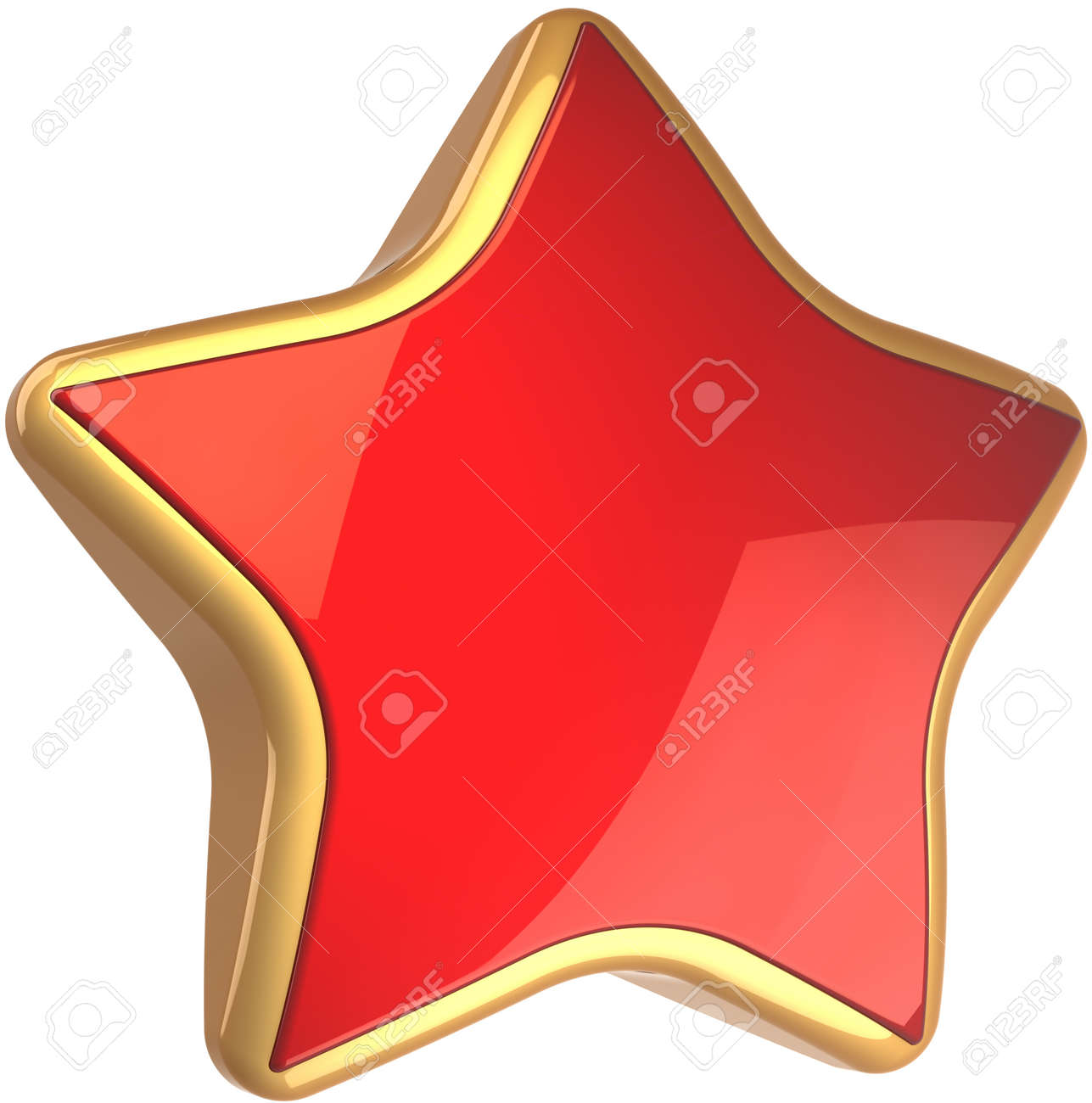 Star shape rating symbol red with golden border. Best choice sign. This is a detailed render 3d cgi (Hi-Res). Isolated on white background Stock Photo - 8857889