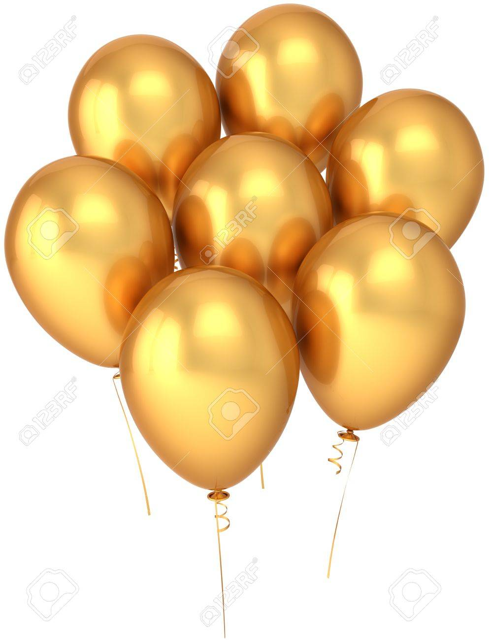 Party balloons seven colored golden. Shiny birthday celebration decoration.  Joyful happiness abstract. This