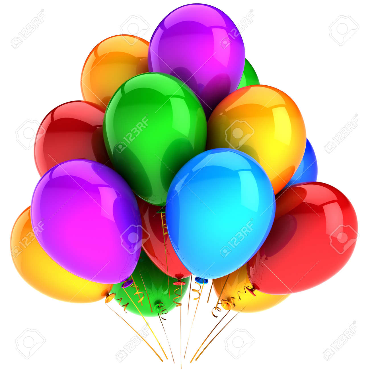 Party balloons multicolor and shiny. Modern beautiful celebration  decoration. Birthday joyful happiness emotions abstract