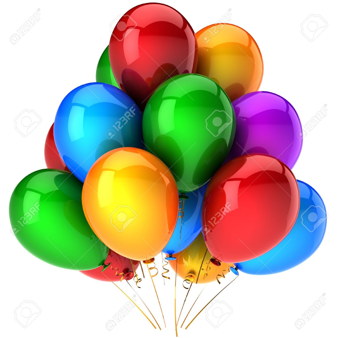 Party balloons multicolor. Shiny colorful birthday celebrate decoration.  Positive joyful happiness abstract. This