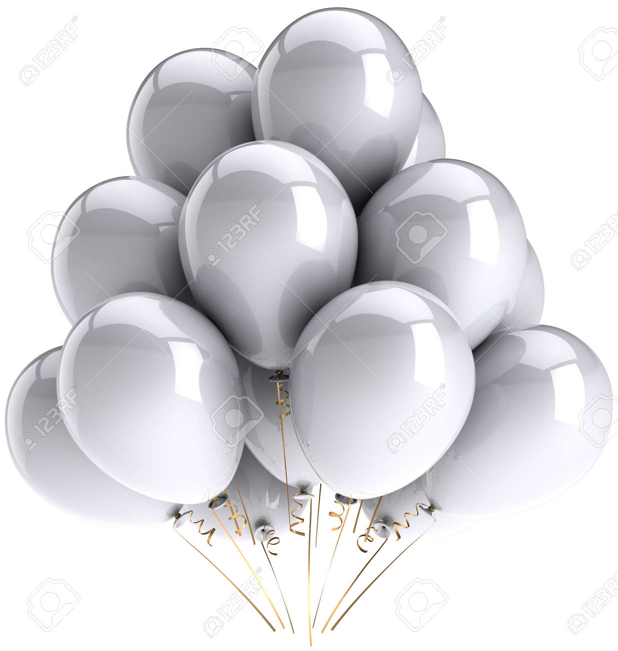 Party balloons white grey colorless. Birthday celebrate decoration classic. Happiness joyful virgin wedding concept. This is a detailed three-dimensional render 3d. Isolated on white background Stock Photo - 9099032