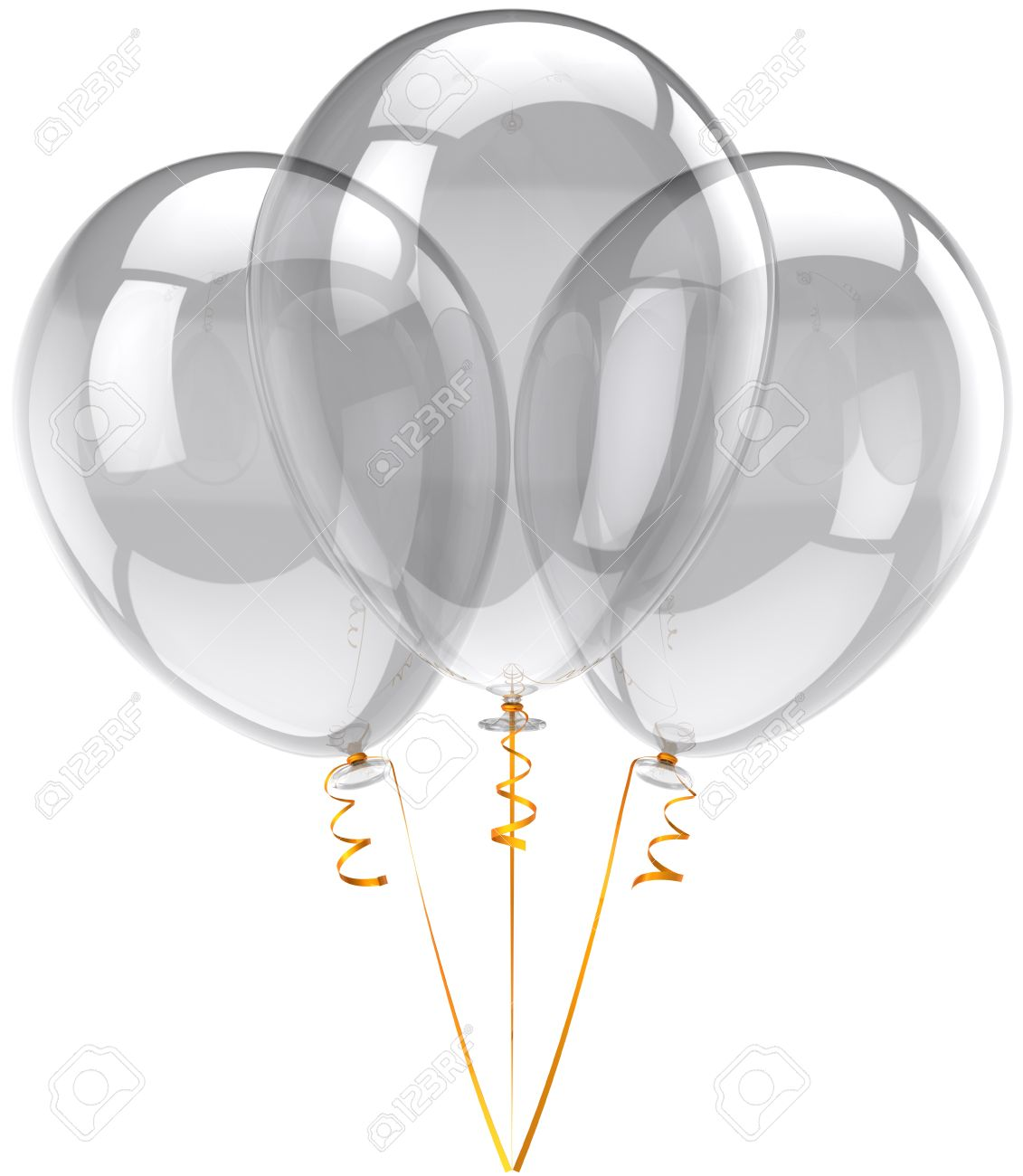 Party balloons three translucent white. Beautiful colorless birthday festival decoration. Joyful happiness holiday emotions concept. Detailed three-dimensional render 3d. Isolated on white background Stock Photo - 9099055