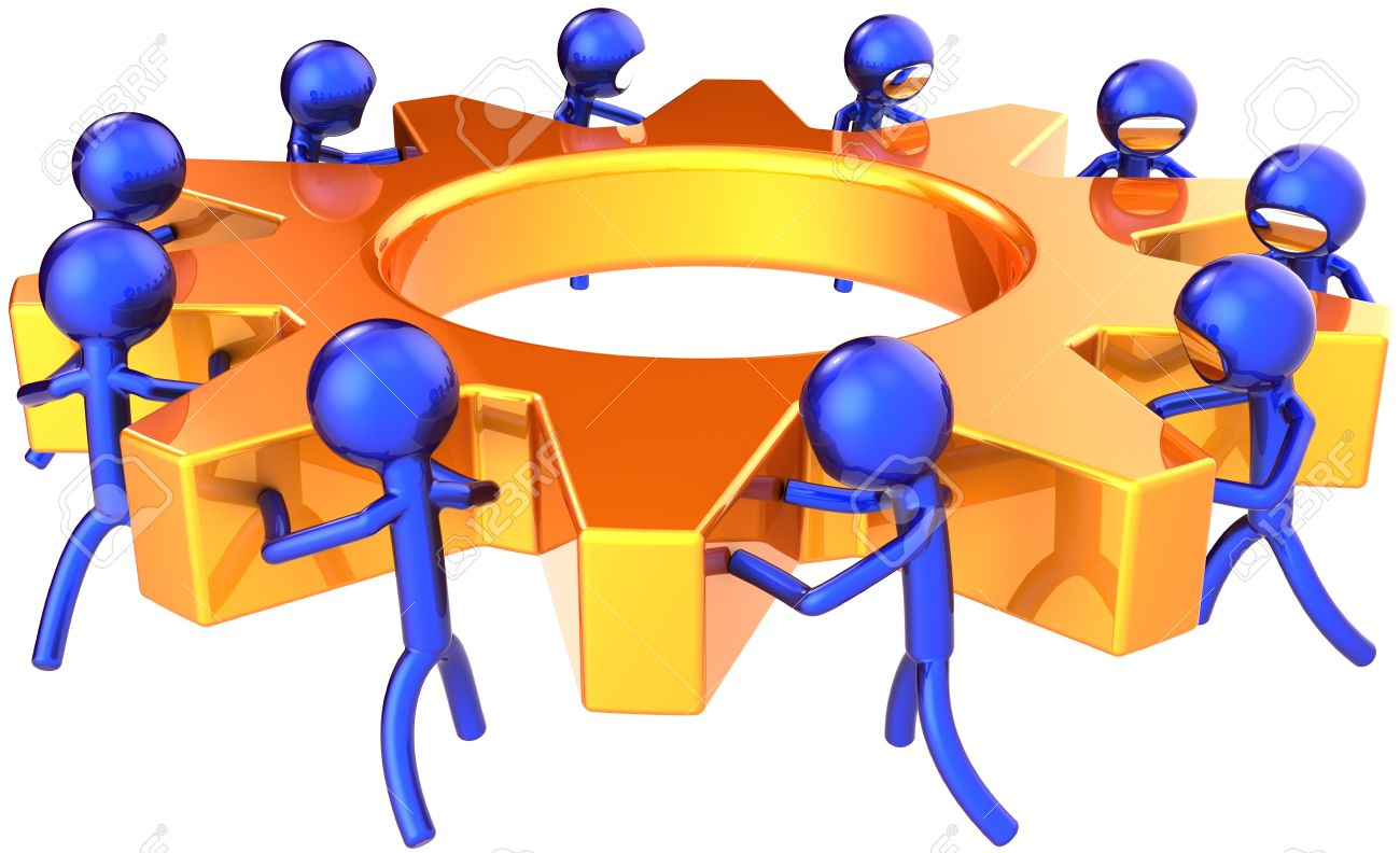 Teamwork business process. Company efficiency concept. Stylized blue shiny workers turning together an golden gear wheel. This is a detailed render 3D (Hi-Res). Isolated on white background Stock Photo - 9180568