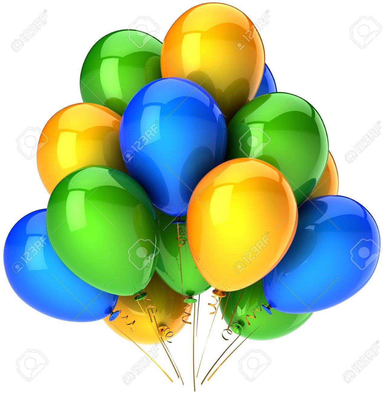 Party balloons multicolor blue orange green. Shiny colorful decoration for holiday birthday celebration. Fun joyful happiness positive abstract. Detailed render 3d. Isolated on white background Stock Photo - 9180574