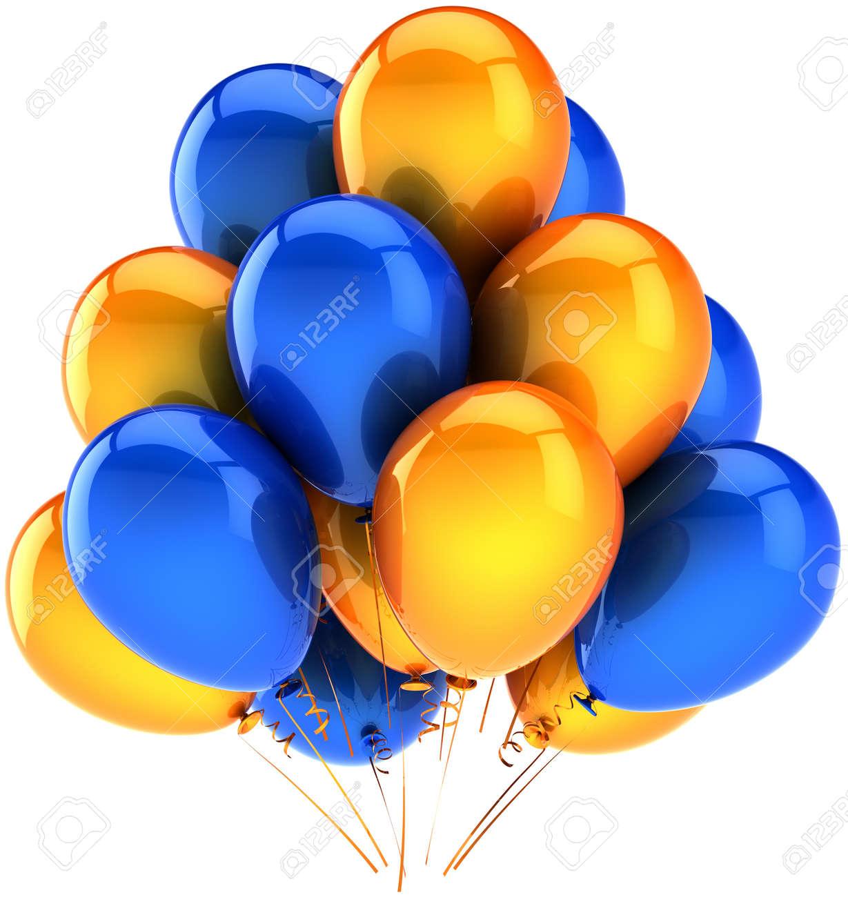 Party balloons multicolor blue orange. Beautiful shiny decoration for  birthday holiday celebration. Joyful happiness