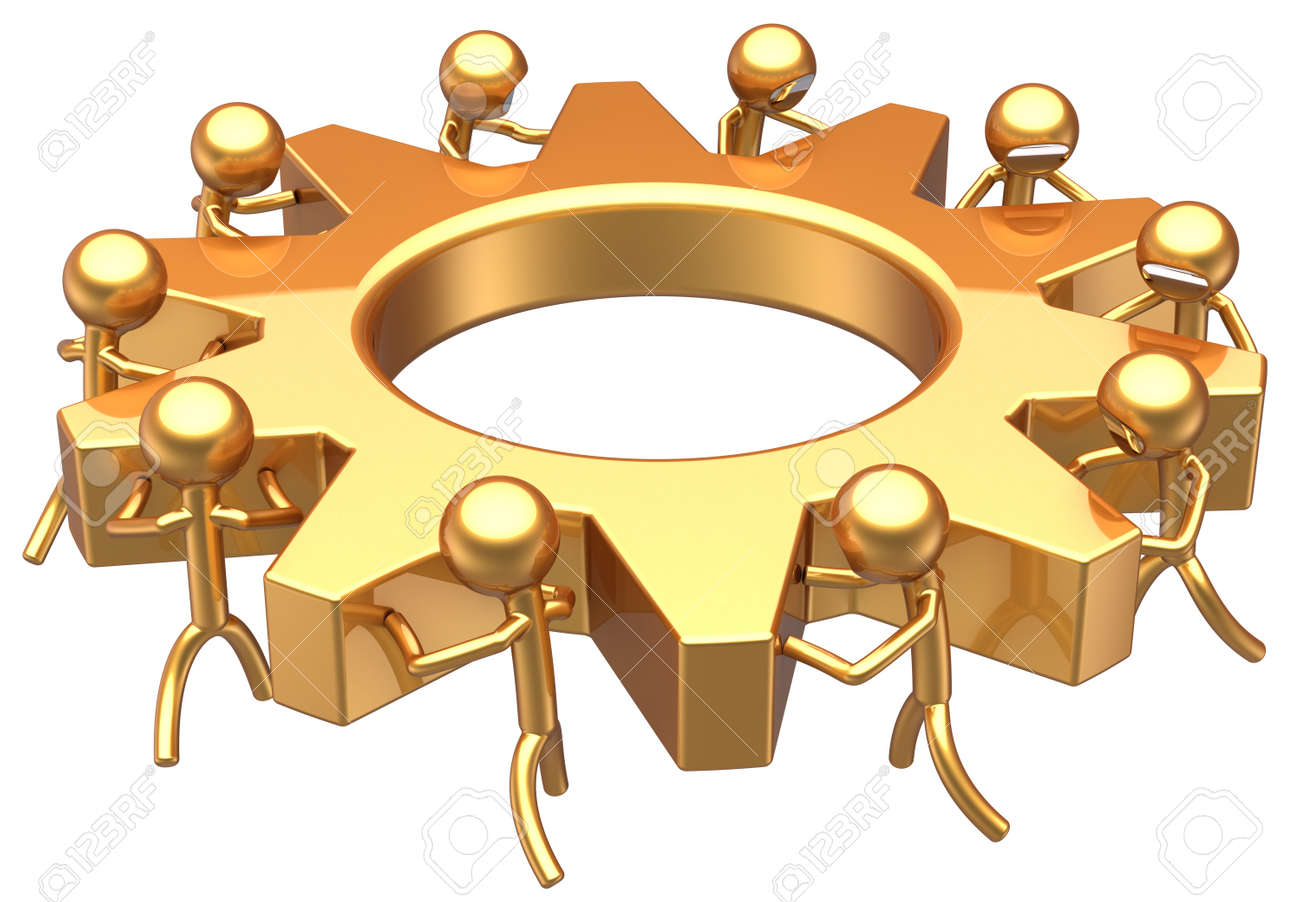 Business teamwork successful concept. Best dream team community partnership abstract. Stylized workers turning together an gear wheel total golden. Detailed 3D render. Isolated on white background Stock Photo - 9210815