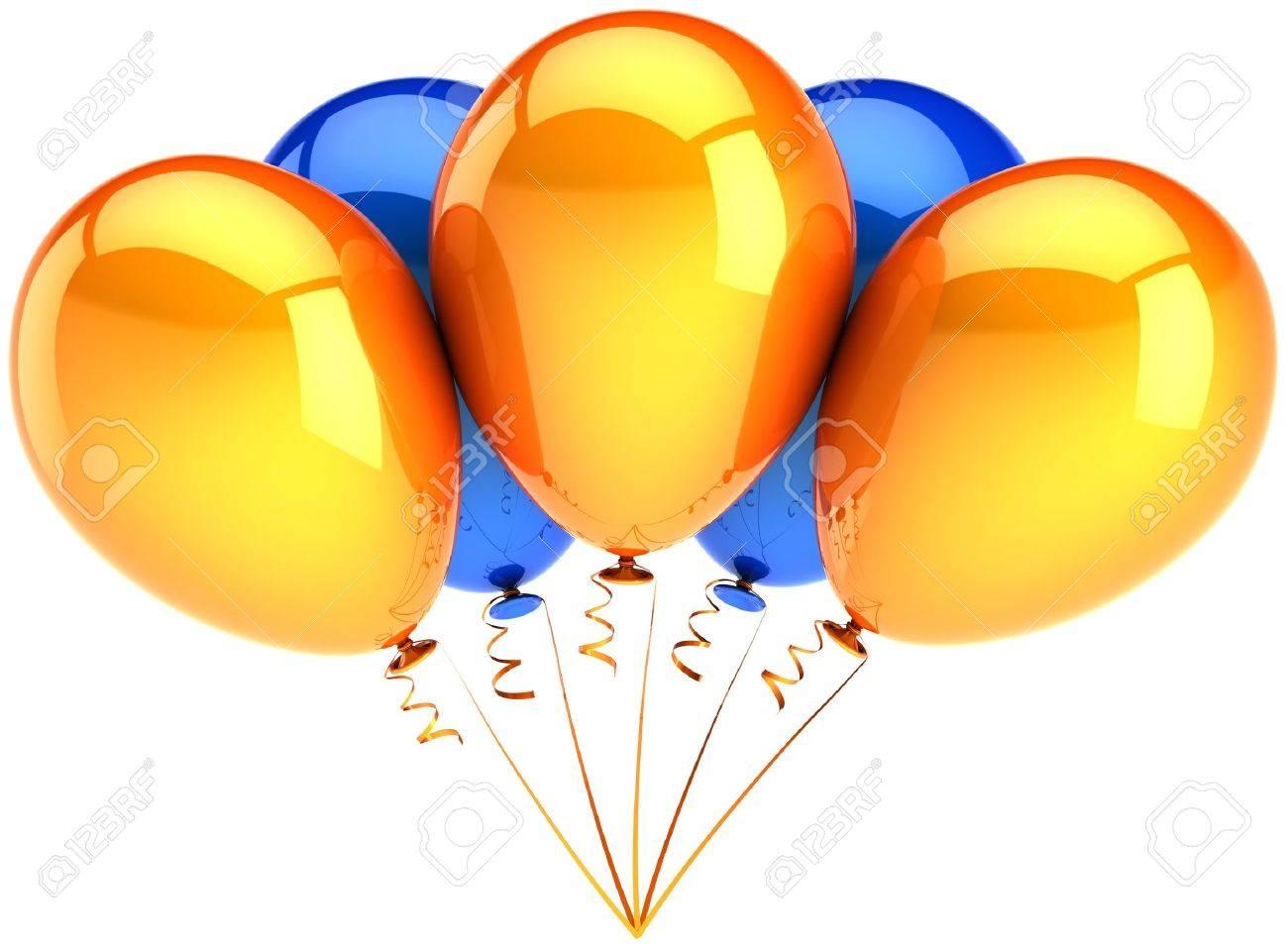 Party balloons orange blue multicolor. Five contemporary shiny decoration  for birthday holiday celebration. Joyful