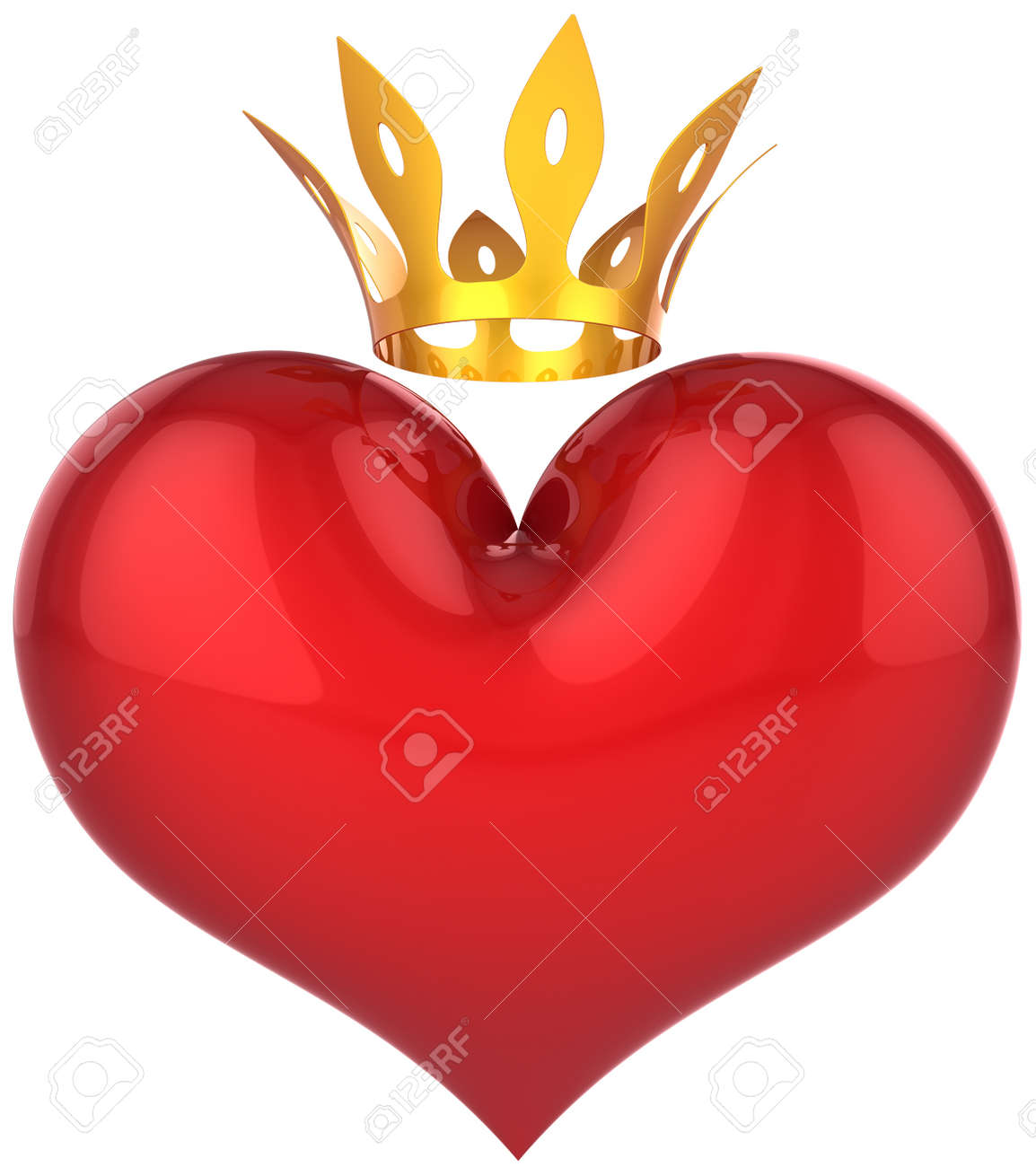 Heart of king abstract. Lucky lover concept. Big red shiny heart shape with a golden crown. This is a detailed 3D rendering (Hi-Res). Isolated on white. Love will save the world! Stock Photo - 9276716
