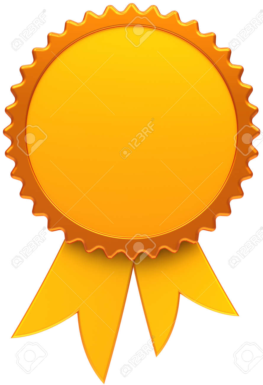 Award Ribbon Golden Blank Medal Icon Of Winner With Copy Space