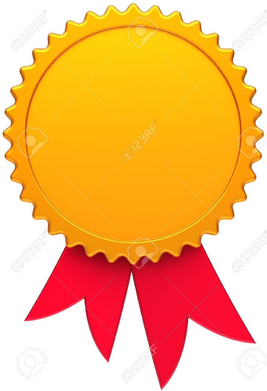 award medal golden with red ribbon blank round copy space design