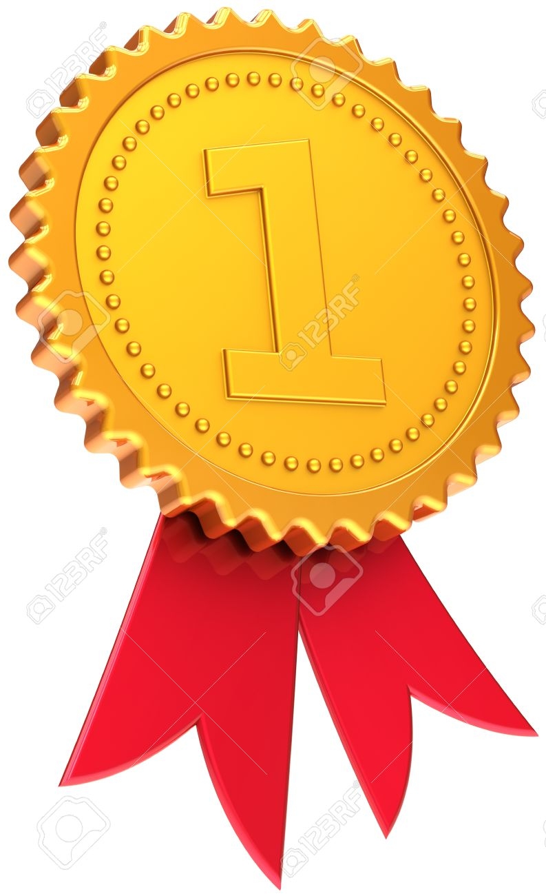 Award ribbon golden first place winner. Number one medal icon. Champion victory concept. This is a high quality CG three-dimensional render 3d. Isolated on white background Stock Photo - 9445774