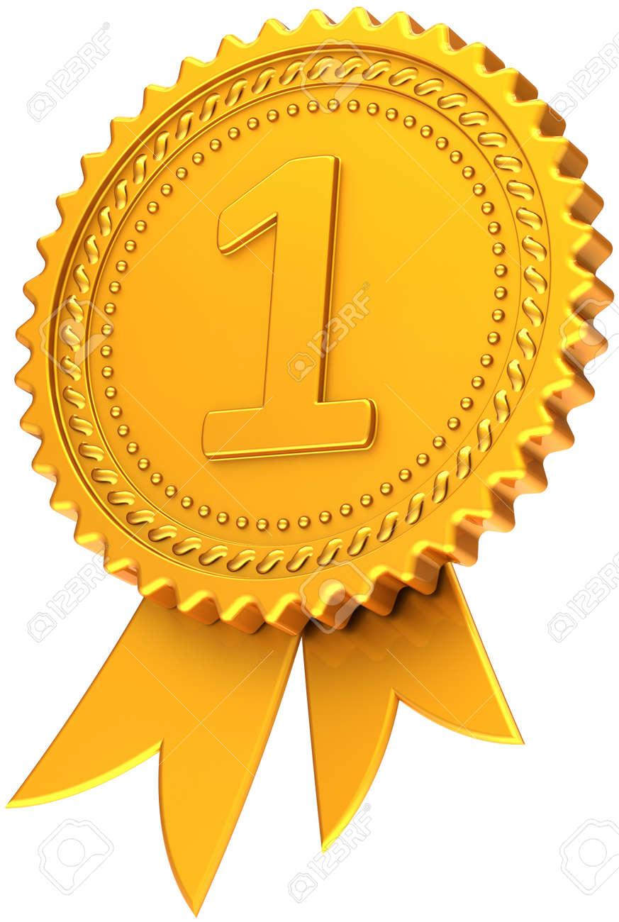 Primer Lugar Premio Cinta Dorada. Icono De Logro Medalla De Campeón ...