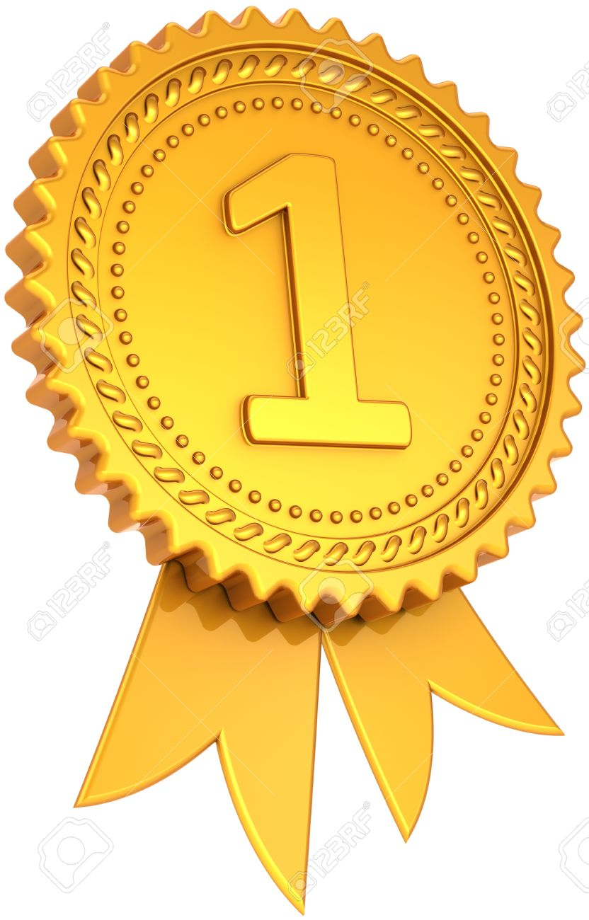 award ribbon golden first place winner number one medal champion