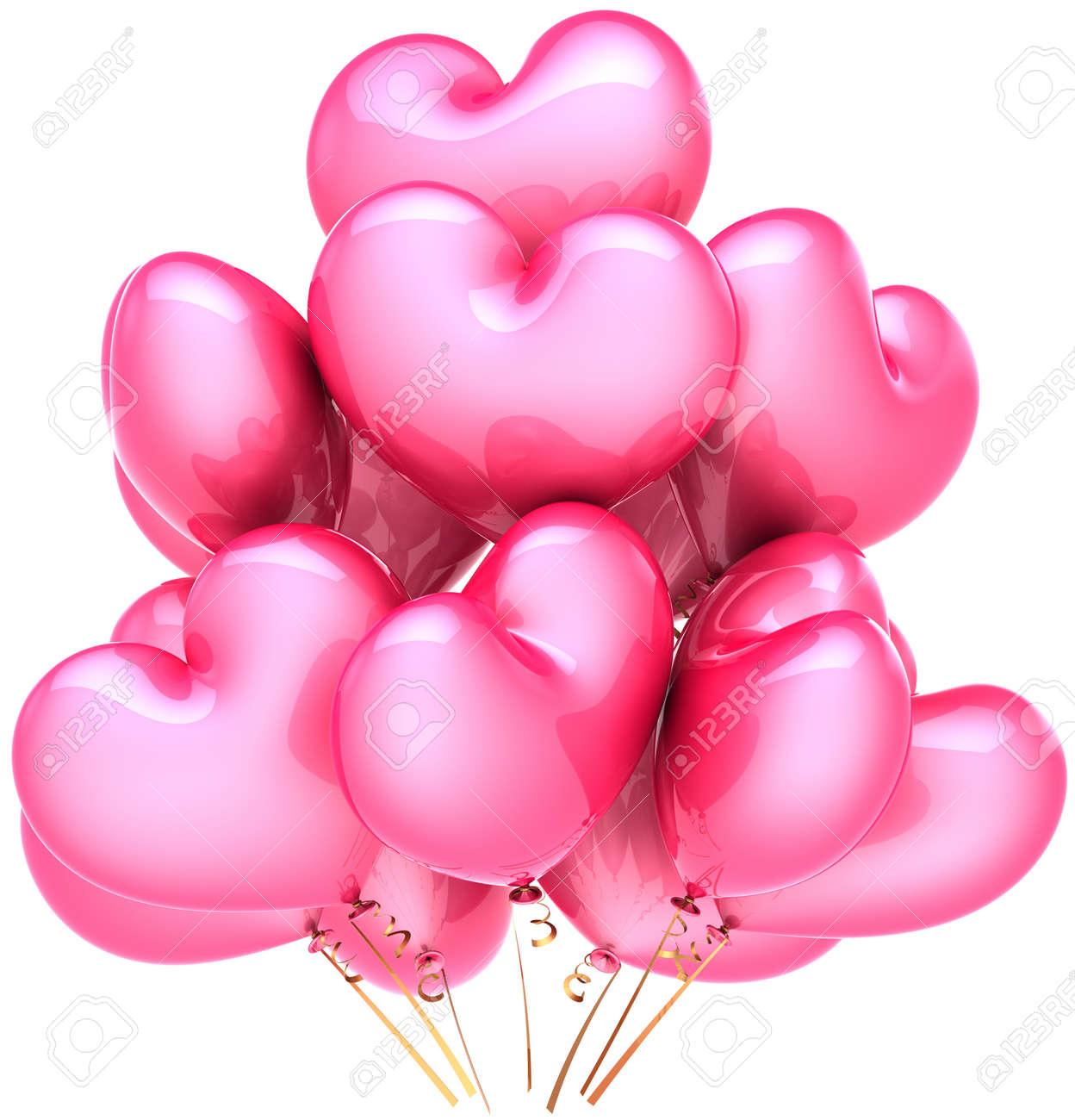 Beau Des Photos De Coeur #13: Parti Des Ballons En Forme De Coeur De Couleur Rose. Lu0027amour Pour La