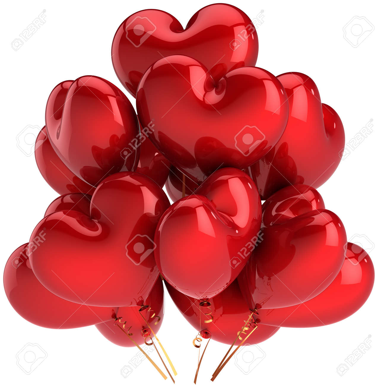 Heart shaped birthday balloons colorful red. Decoration for Love romantic party. Happy married celebration concept. This is a detailed CG three-dimensional 3D render. Isolated on white background Stock Photo - 9546196