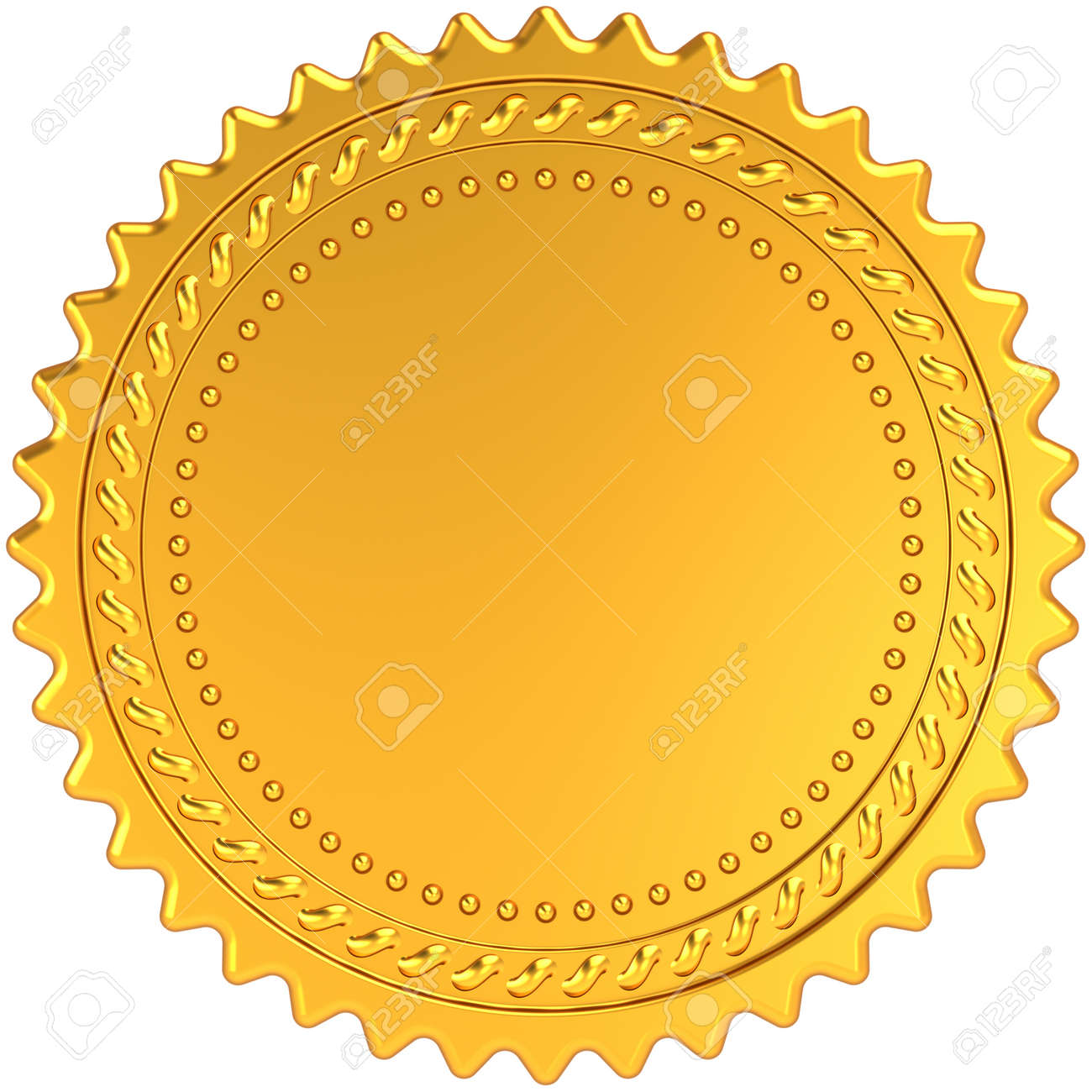 Golden Award Medal Blank Seal Luxury Champion Badge Label