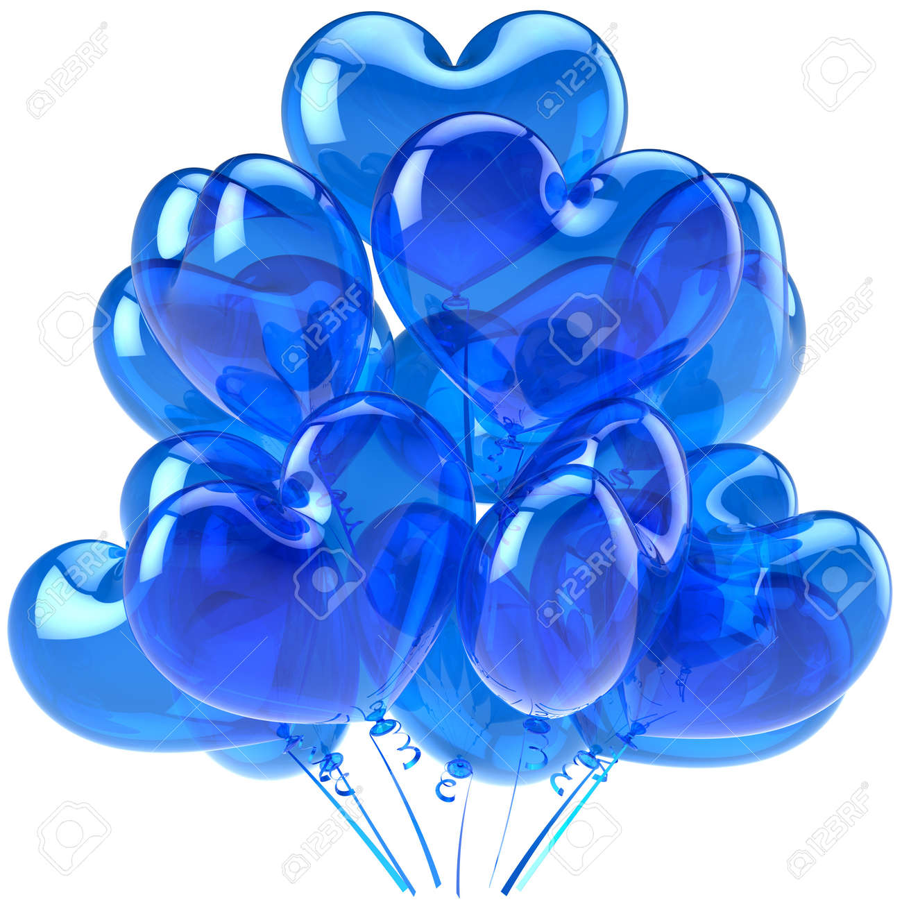 Birthday Balloons Blue Translucent Heart Shaped Decoration For Party Celebration Romantic Love Card Abstract