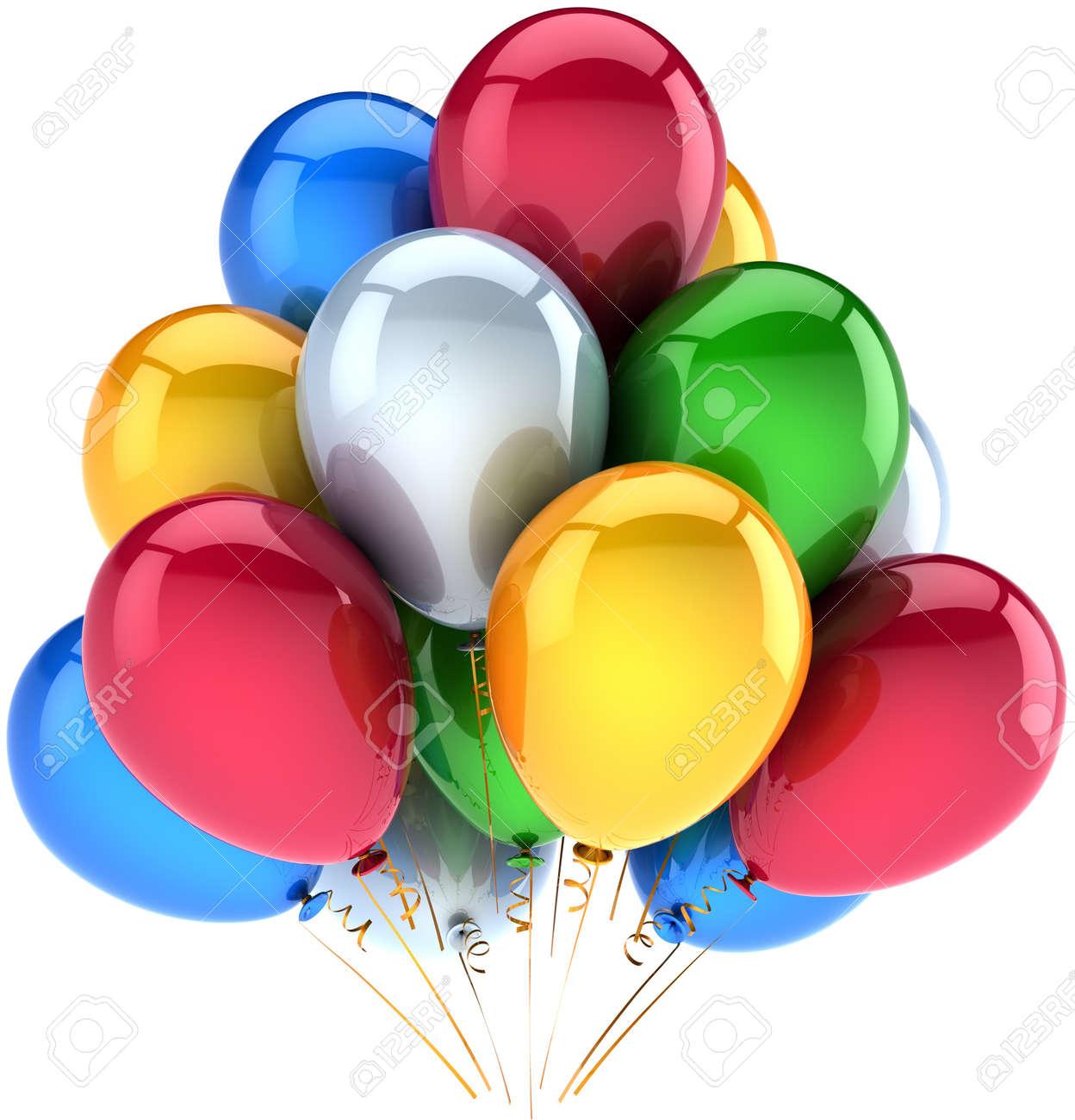8 Ballons Gonflable Blanc étoiles multicoloresLes enfants du cirque anniversaire déco bleu jaune vert rouge