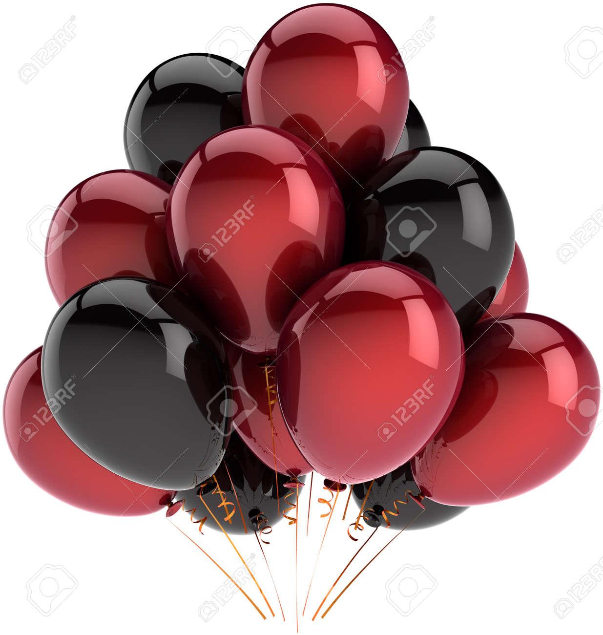 Banque d\u0027images , Décoration de ballons fête anniversaire multicolore  profonde rouge et noir. Résumé de la joie heureux amusant.