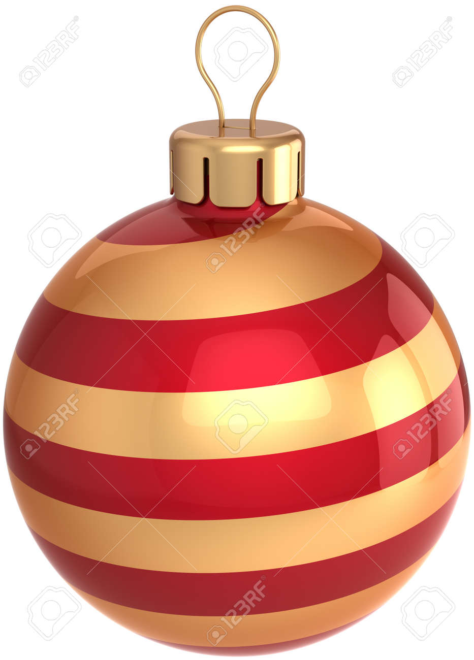 Christmas ball Happy New Year bauble holiday decoration colored golden and red. Beautiful shiny Merry Xmas symbol classic. Detailed 3D render. Isolated on white background Stock Photo - 10071517