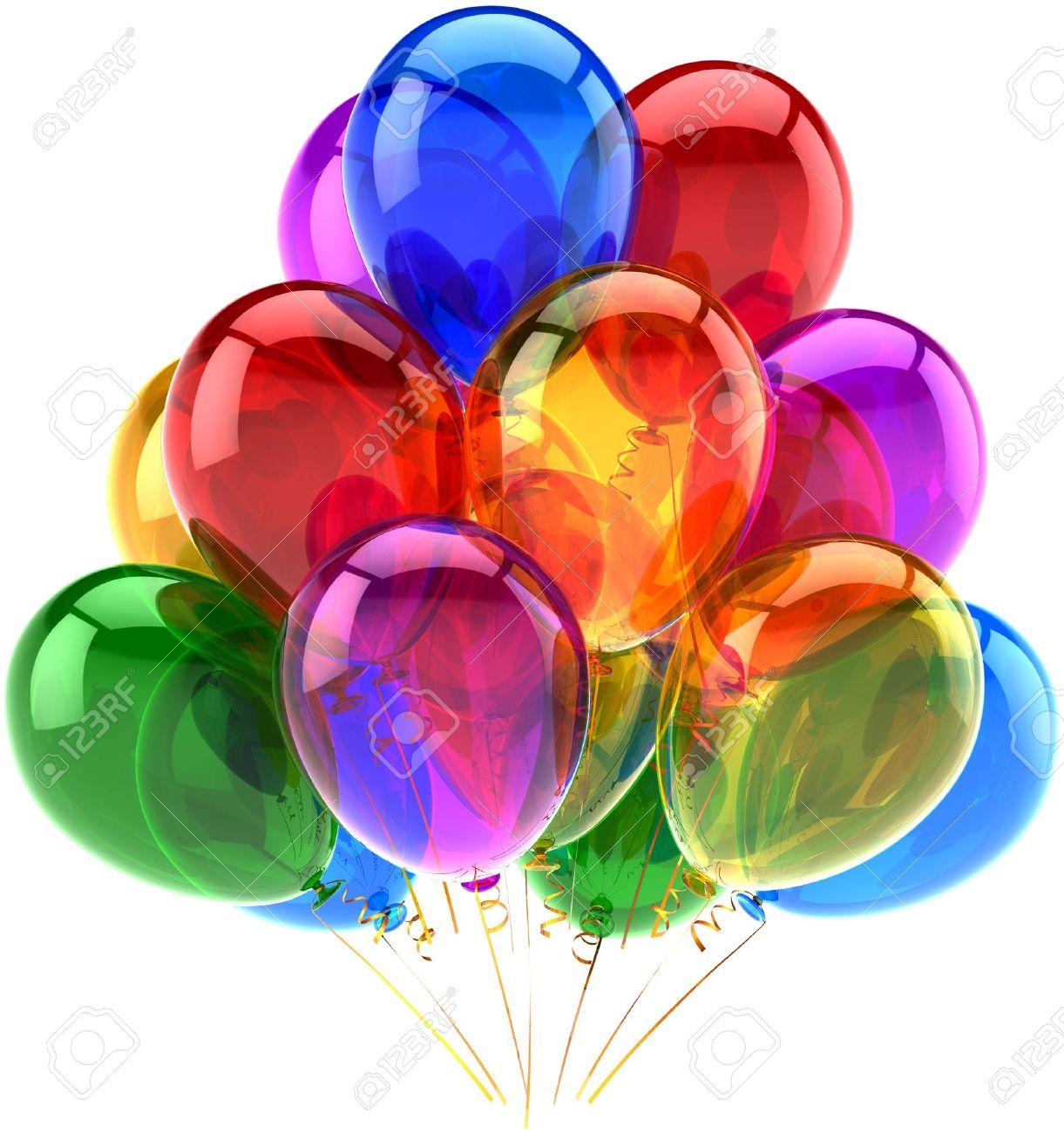Ballons Parti Decoration Joyeux Anniversaire Multicolore Translucide