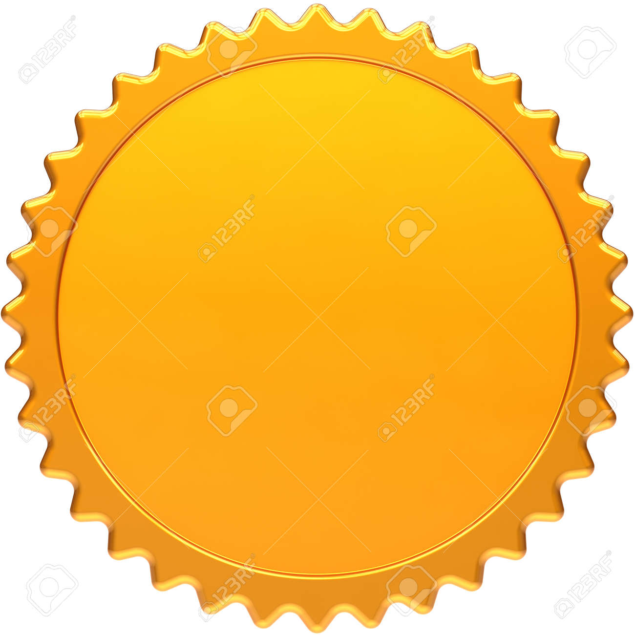 Blank award medal design element. Golden seal concept front view. Luxury champion badge label. Certificate guarantee design element template. Detailed 3d render image. Isolated on white background Stock Photo - 10375225