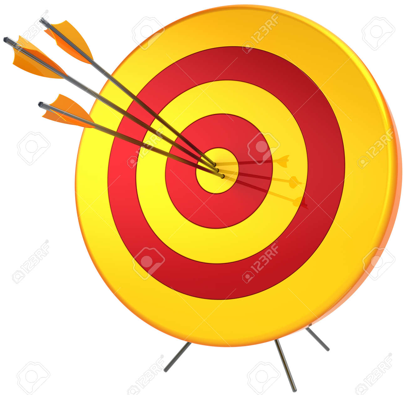 Target success hitting with arrows. Perfect accuracy sniper shooting. Lucky business bulls eye concept. Detailed 3d render. Isolated on white background Stock Photo - 10418251