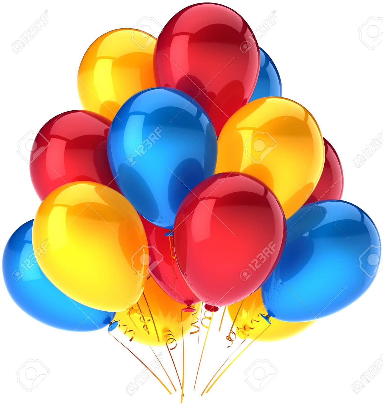 Le Party De Ballons Joyeux Anniversaire Decoration Multicolore Rouge