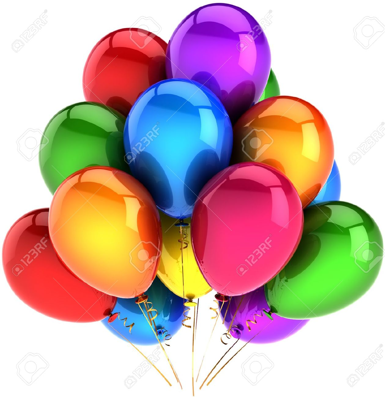 Balloons happy birthday party vacation decoration multicolored as rainbow. Happy fun joy holiday abstract. Celebration greeting card concept. Detailed render 3d. Isolated on white background Stock Photo - 10468676