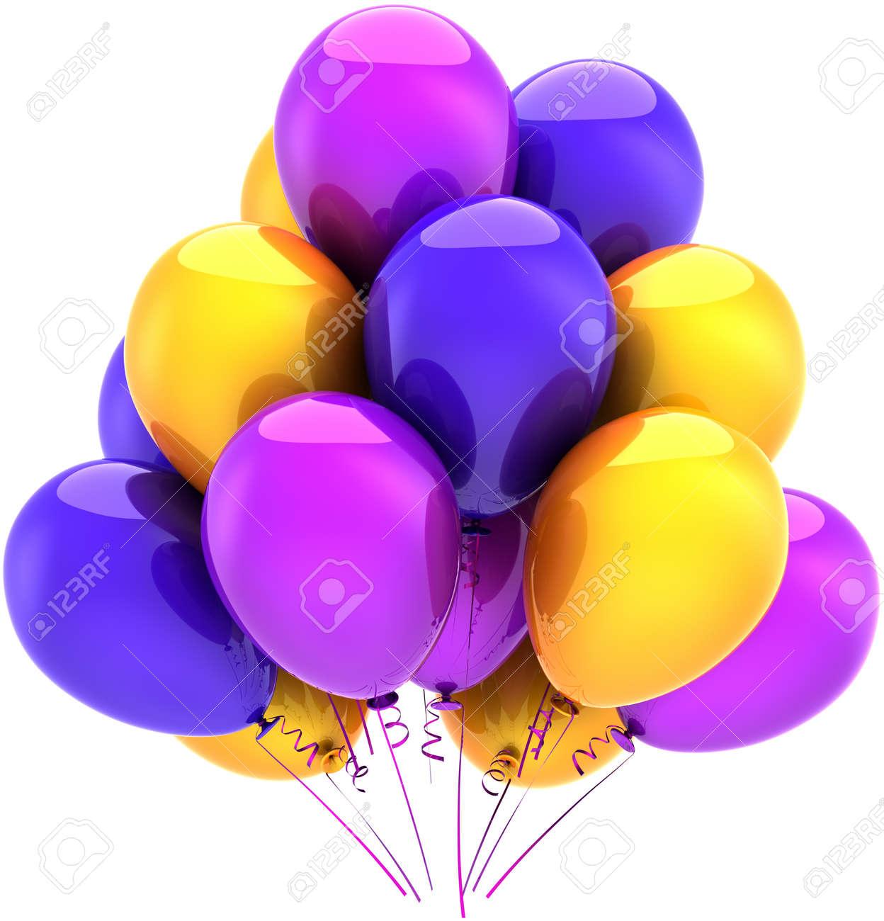 tout est multicolore - Page 2 10491797-Ballons-anniversaire-parti-d-coration-multicolore-bleu-pourpre-jaune-R-sum-des-vacances-heureuses-Co-Banque-d'images