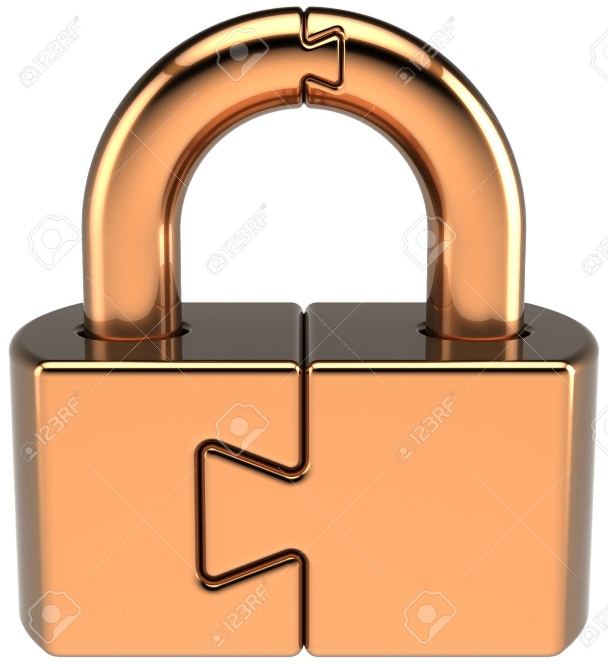 Lock padlock closed guard. Security password hold icon concept. Golden puzzle link secret code encryption abstract. Detailed 3d render. Isolated on white background Stock Photo - 10685192