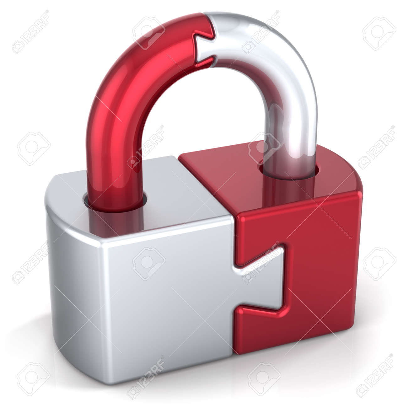 Lock padlock security safeguard. Strong password hold icon concept. Closed puzzle link secret code encryption abstract. Detailed 3d render. Isolated on white background - 10685199