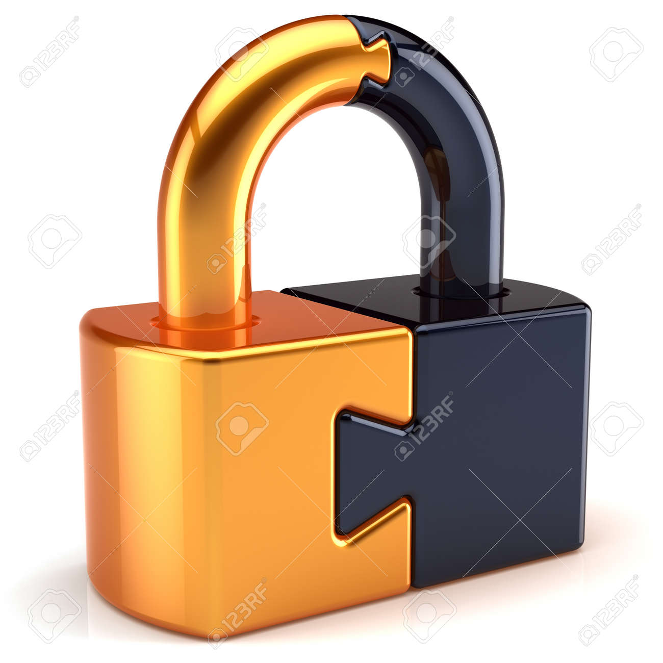 Lock padlock security password safeguard. Closed puzzle link secret code encryption abstract colored golden black parts. System access icon concept. Detailed 3d render. Isolated on white background Stock Photo - 10845288